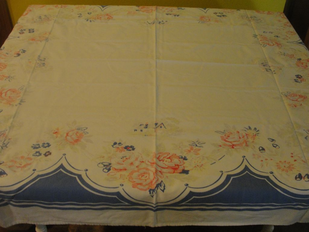 Old Homestead Pink and Blue Tablecloth