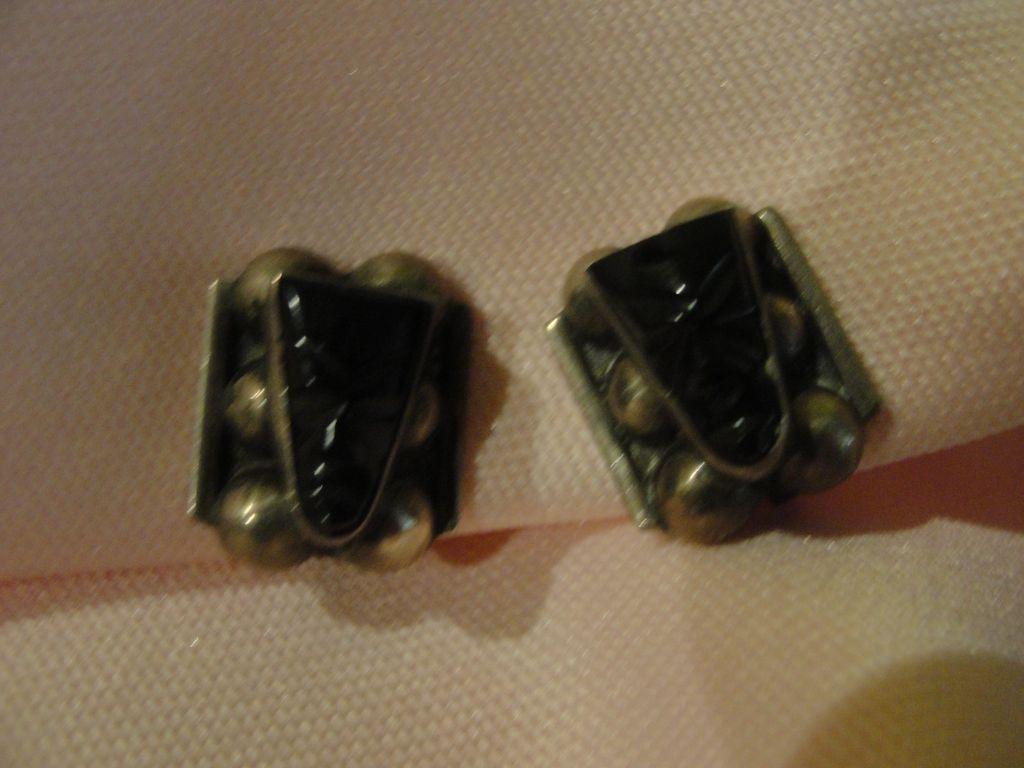 Hecho en Mexico Silver Onyx Mask Screw Back Earrings - Free shipping