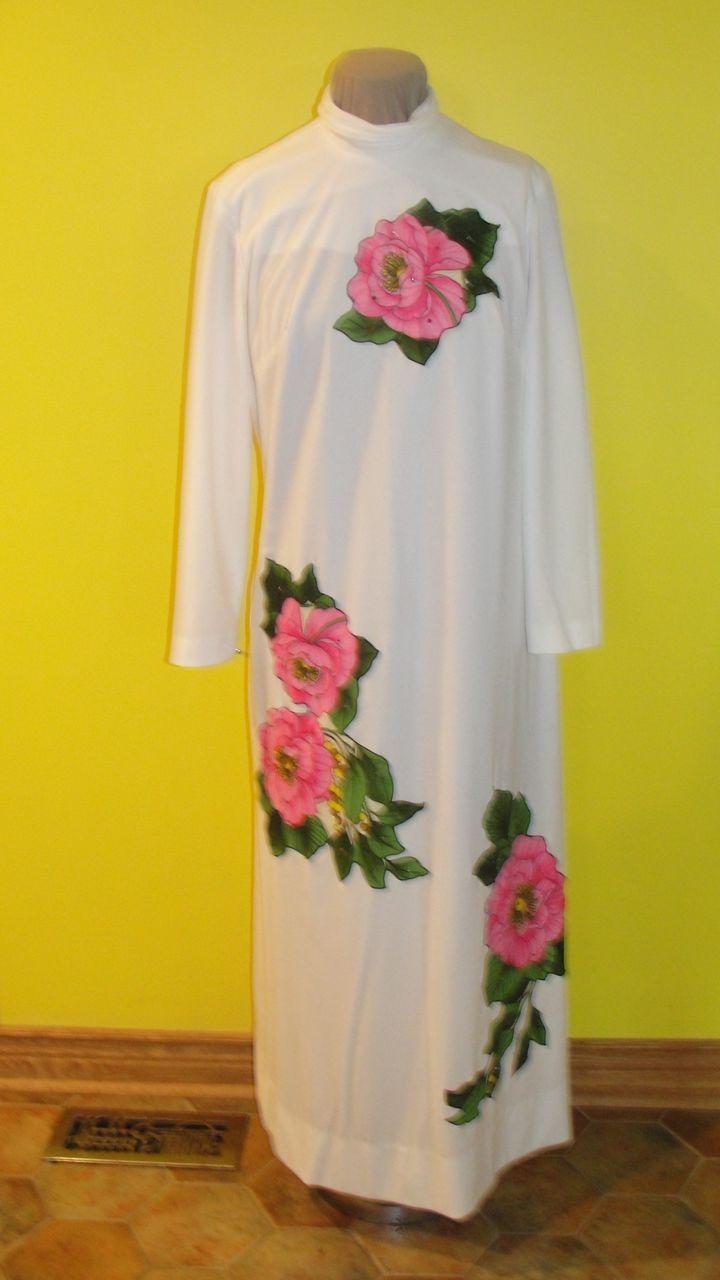 Bold Blossoms on White Floor Length Dress