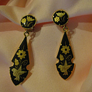 Damascene Dangle Clip-on Earrings - Free shipping