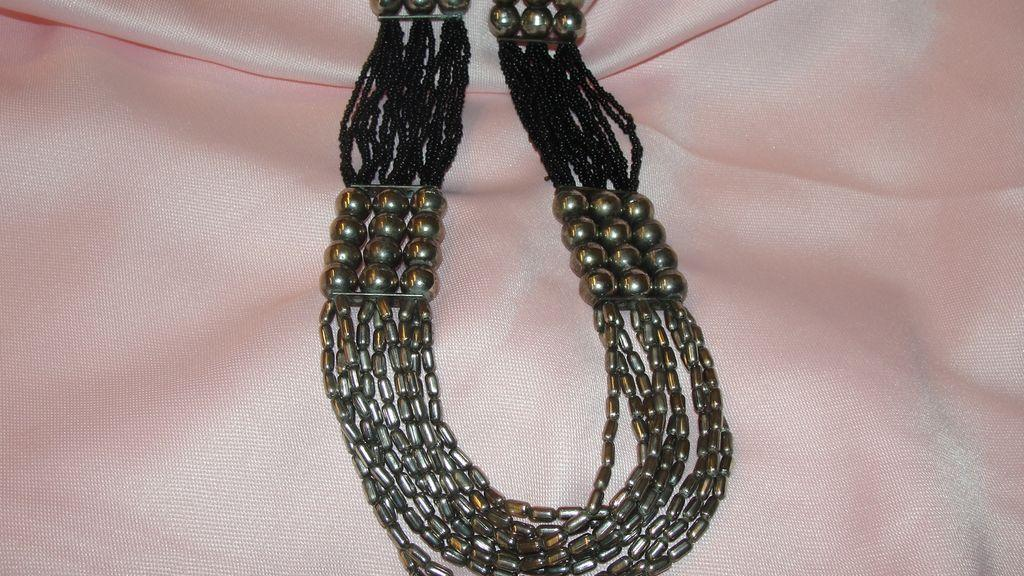 Multi Strand Black Bead Necklace - Free shipping