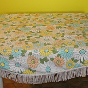 Daisies tell Fringed Oval Tablecloth with fringe