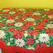 Poinsettia and Pinecone Fringed Tablecloth