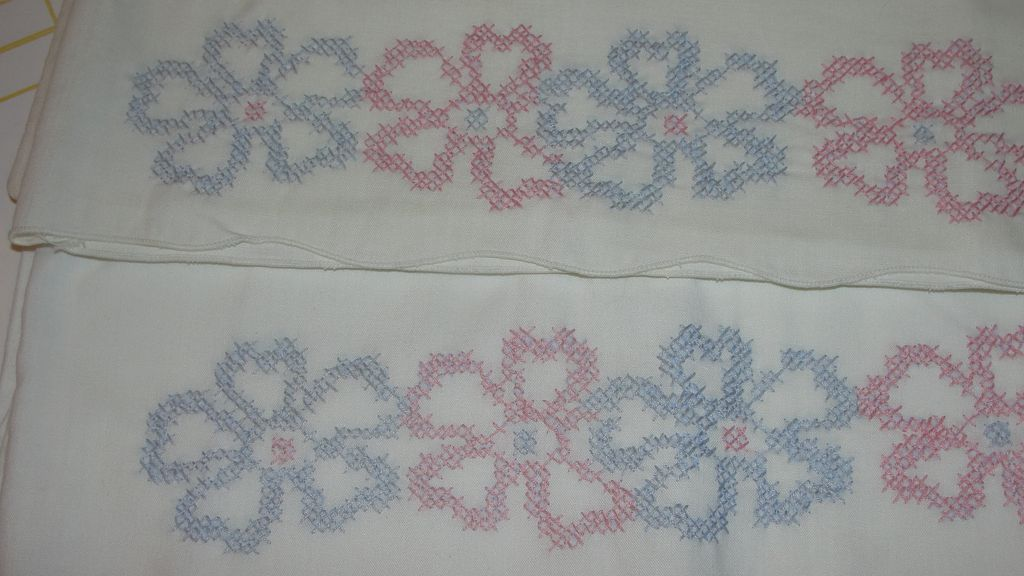 Pink and Blue X Stitch Flower Embroidered Pillow cases - b38