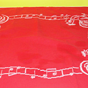 Cross Stitch Red Rooster Tablecloth - b46