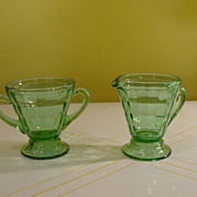 Tapered Green Glass Creamer and Sugar - b48