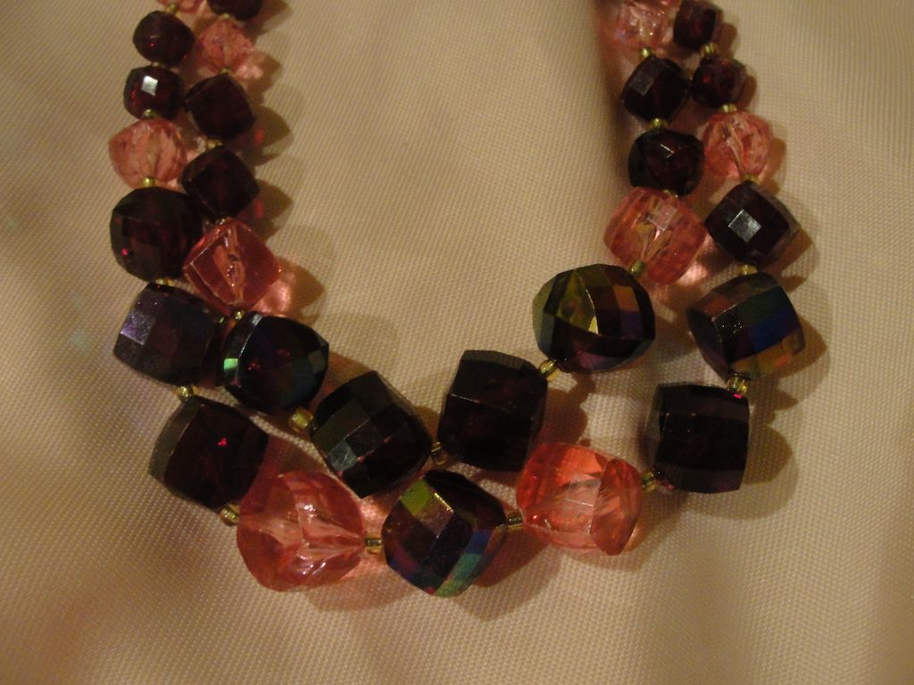 Pink and Red Double Strand Bead Necklace - Free shipping