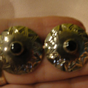 Mexican Silver Button Post Pierced Earrings - Free shipping