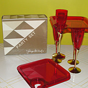 Perfect for a Party Georges Briard Shimmer Red 8 piece Hostess Set E4605-00 - b48 - Red Tag Sale Item