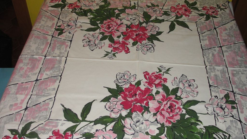Pink and Gray Vases of Flowers Tablecloth