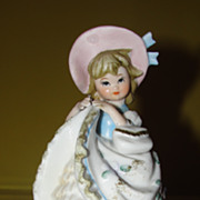 Blue Ribbon on Her Bonnet Figurine - b51