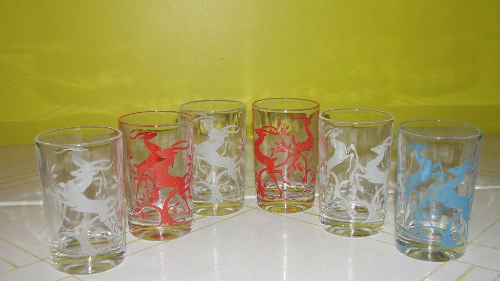 Graceful Gazelle Federal Glass Juice Glasses - b53