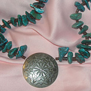 Turquoise and Silver Necklace - Free shipping