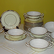 Spode ''Sutherland'' Cream Soup Bowls with Saucers