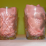 Flowers Cut in Glass Tumblers - b52