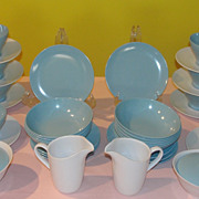 Goes Along Blue and White Melmac/melamine 19 piece Dishes - b50 - Red Tag Sale Item