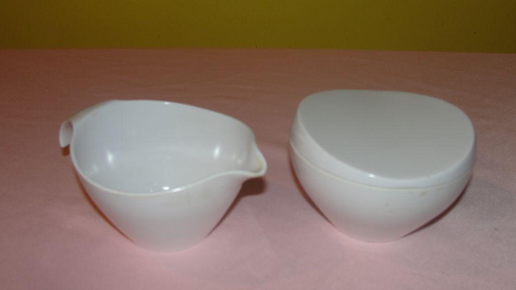 White Prolon Melmac/Melamine Creamer and Sugar Bowl