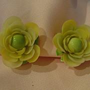 Yellow Petal with Green Enamel Clip-on Earrings - Free shipping