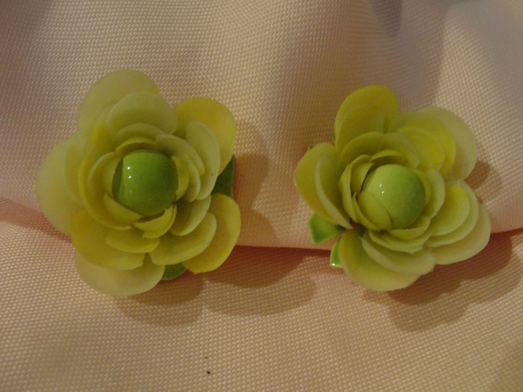 Yellow Petal with Green Enamel Clip-on Earrings - Free shipping