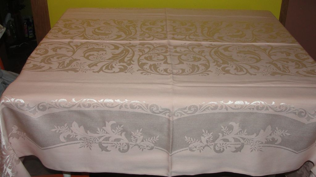 Silvery Pink Damask Tablecloth