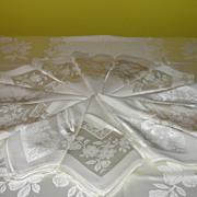 Elegant Ivory Damask Tablecloth with Dinner Napkins - Red Tag Sale Item