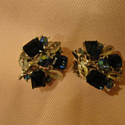 Blue and Bluer Lisner Clip-on Earrings - Free shipping