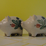 Painted Pigs with Blue flowers Salt and Pepper Shakers