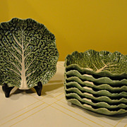 Bordallo Pinhiero Made in Portugal Green Cabbage Salad Plates