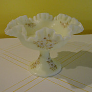 Fenton Daisies on Custard Satin Footed Compote 7429DC - b51
