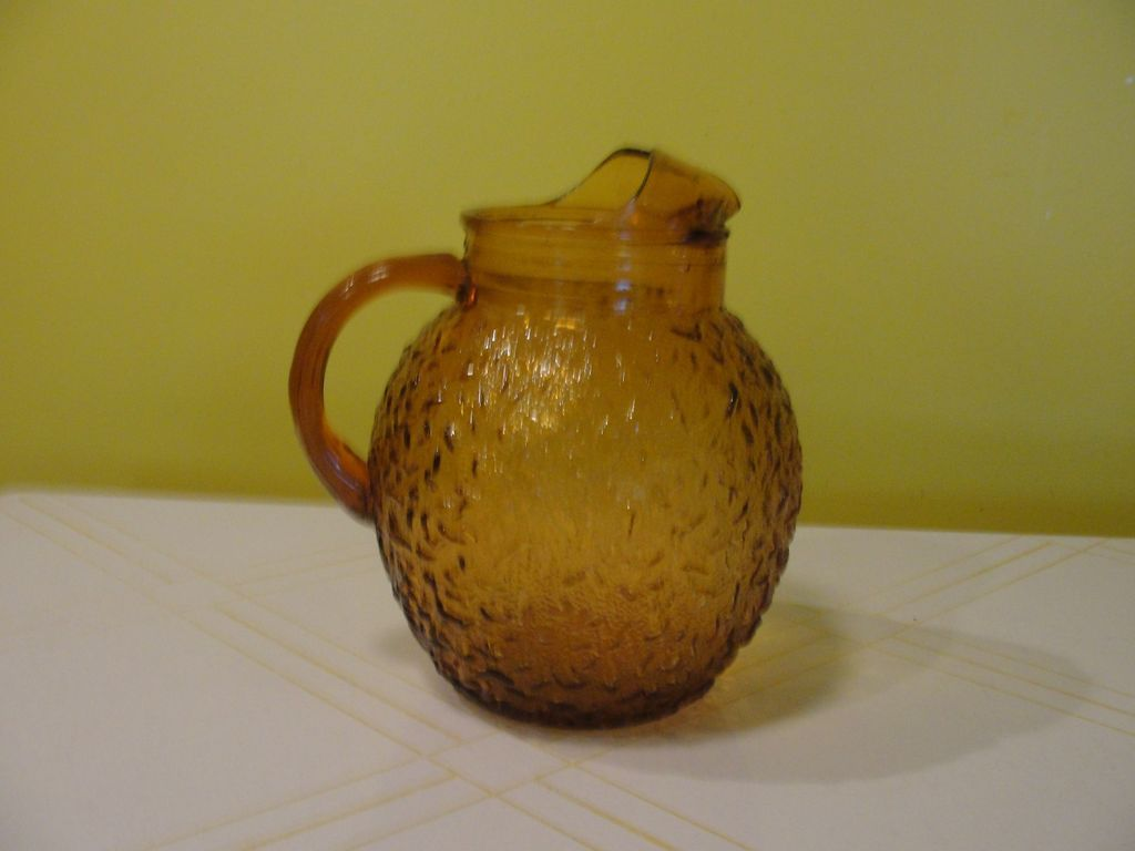 Harvest Gold Textured Glass Pitcher