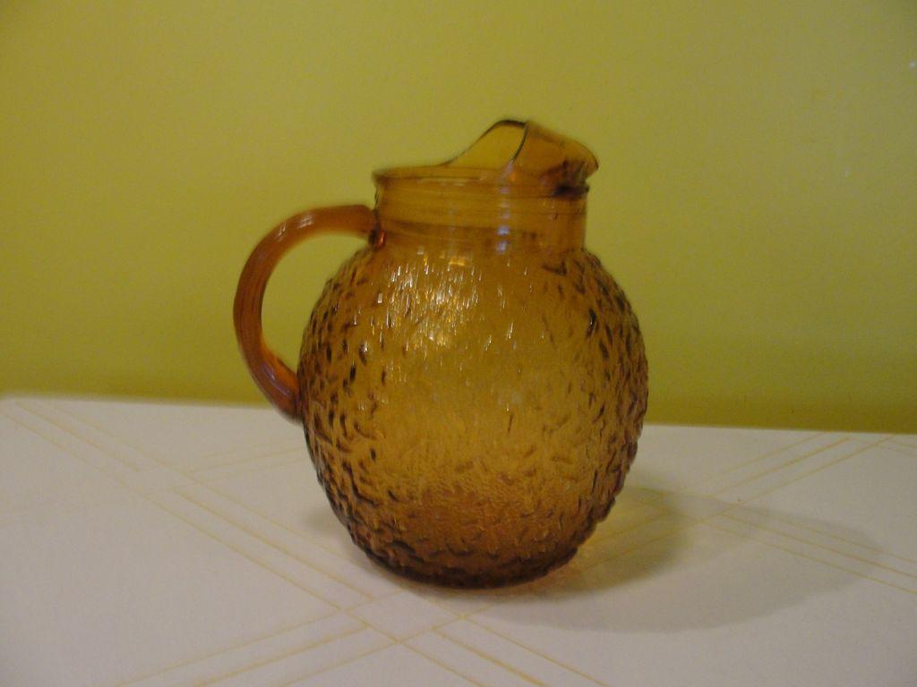 Harvest Gold Textured Glass Pitcher