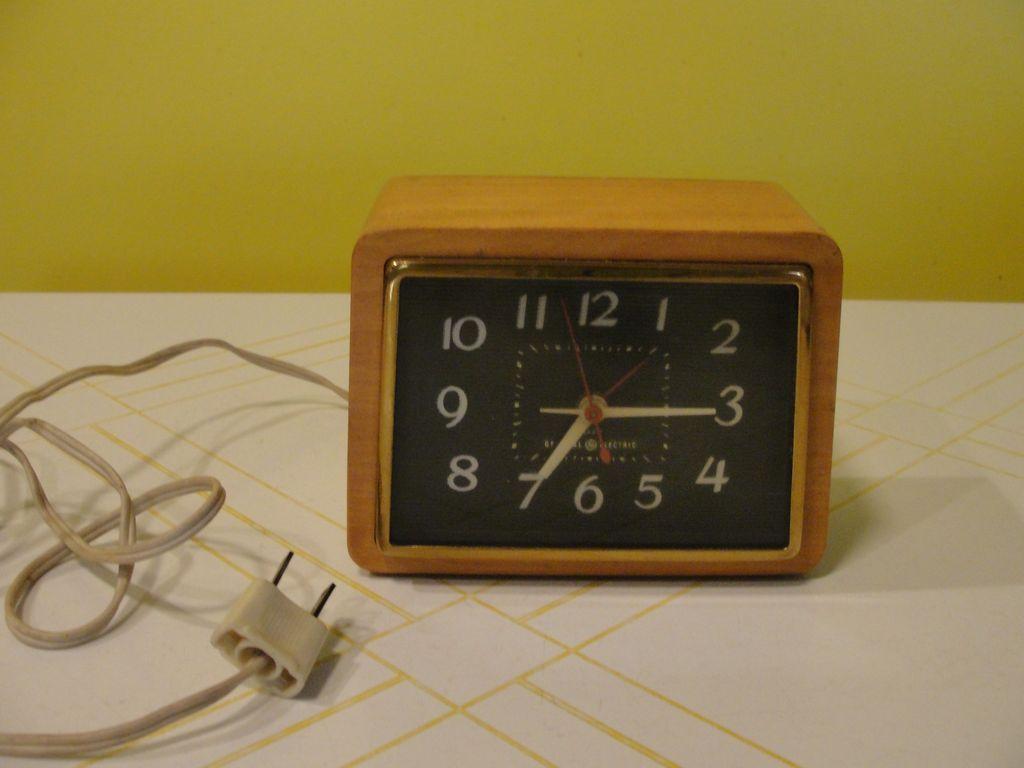 Modern Mid Century Wood Alarm Clock Red Tag Sale Item
