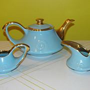 Robin Egg Blue Pearl China Tea Pot with Creamer and Sugar Bowl