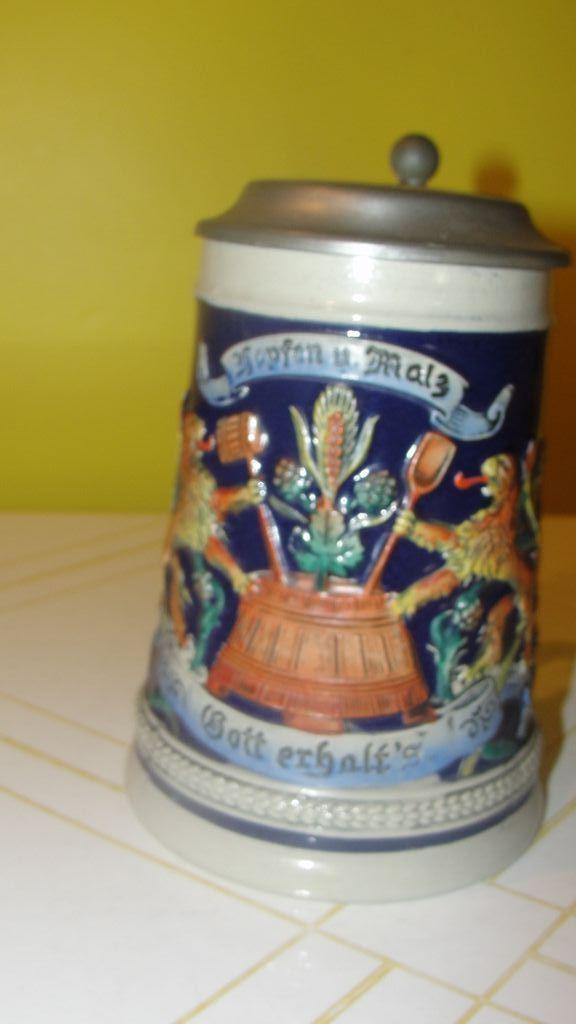 Gerz Regal Lion Beer Stein with Lid