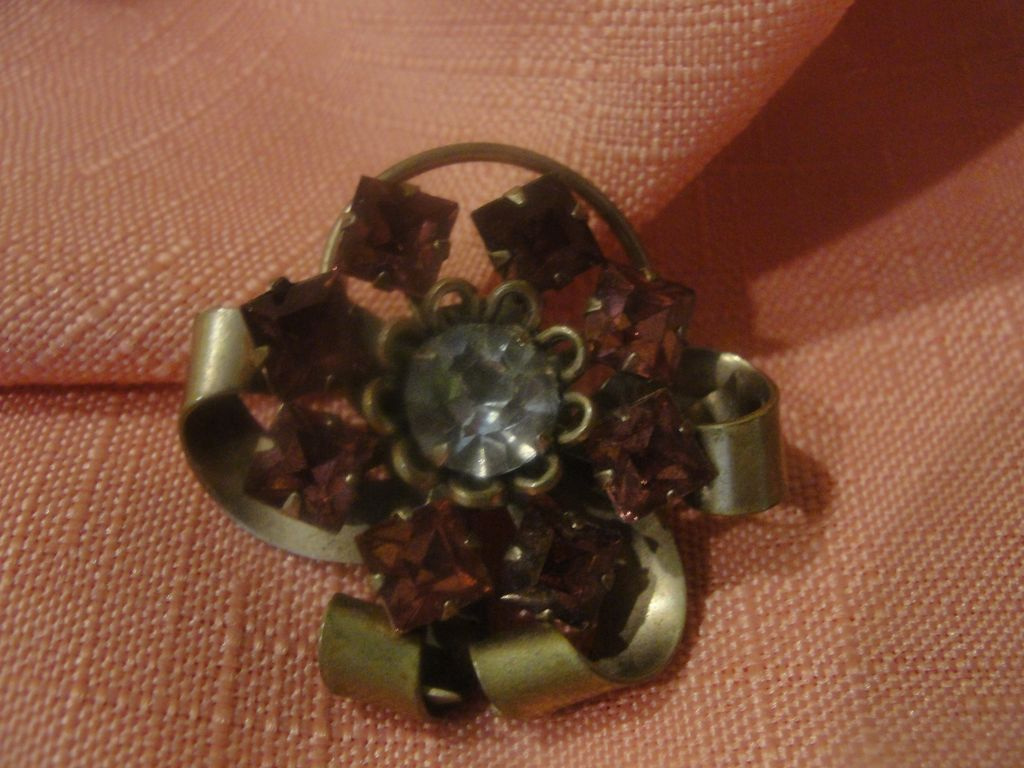 Curled and Coiled Pink Rhinestone Pin - Free shipping
