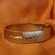 Diamond Cut Satin Finish Hinged Bangle Bracelet - Free shipping