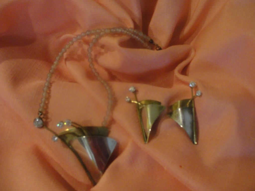 Louis Booth Mixed Metal, Sterling and Brass, Necklace and Clip-on Earrings - Free shipping