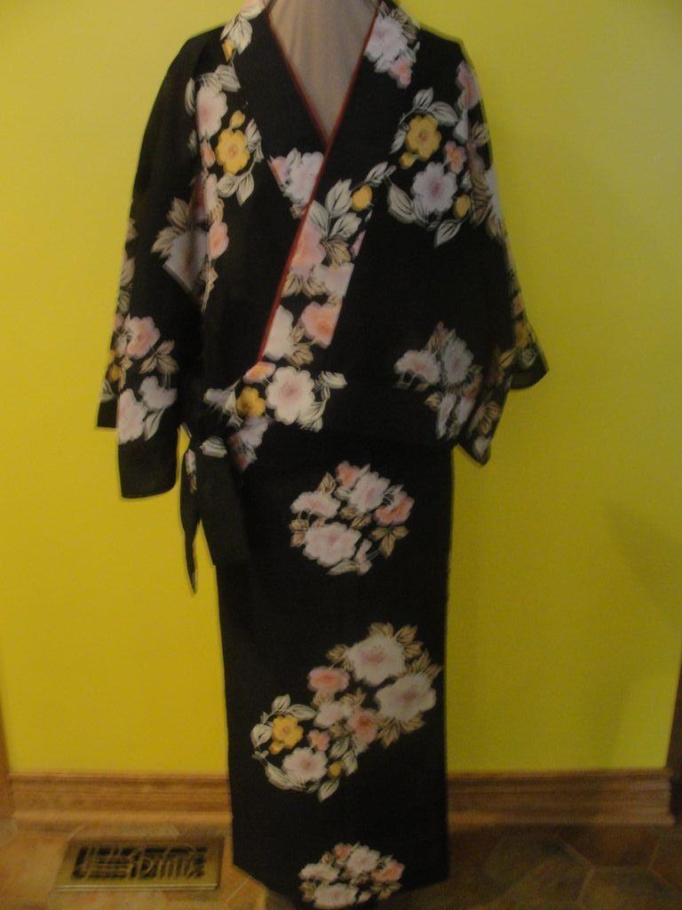 Floral against Black 2 Piece Nibushiki Kimono