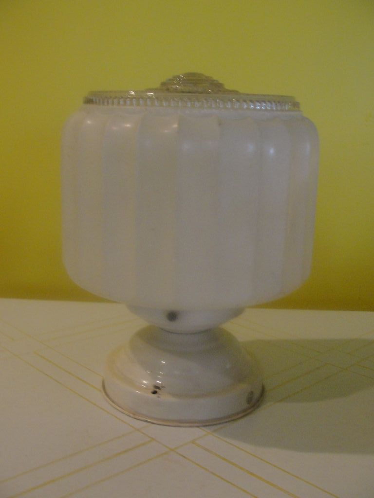 Art Deco Vertical ribbed Glass Ceiling Shade
