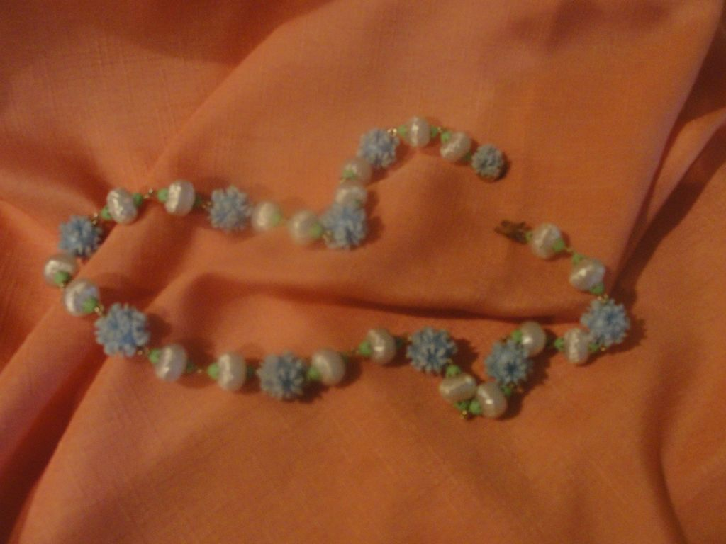 Baby Blue and White bead Necklace - free shipping