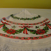 Red poinsettias and Bows Round Tablecloth with Fringe