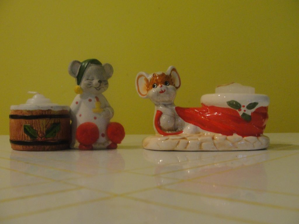Christmas Mice Candleholders