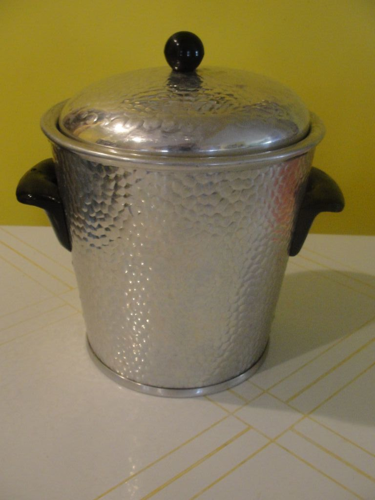 Mid-century Hammered Aluminum Ice Bucket Made in Spain