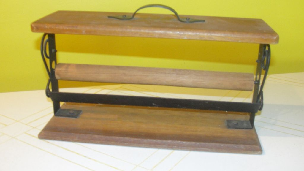 Wood and Wrought Iron Paper cutter/holder
