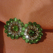 Green Go round Screw Back earrings - Free Shipping