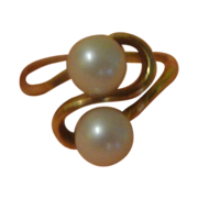 Golden Ribbon Pearl in 18K Yellow Gold Ring - Free shipping