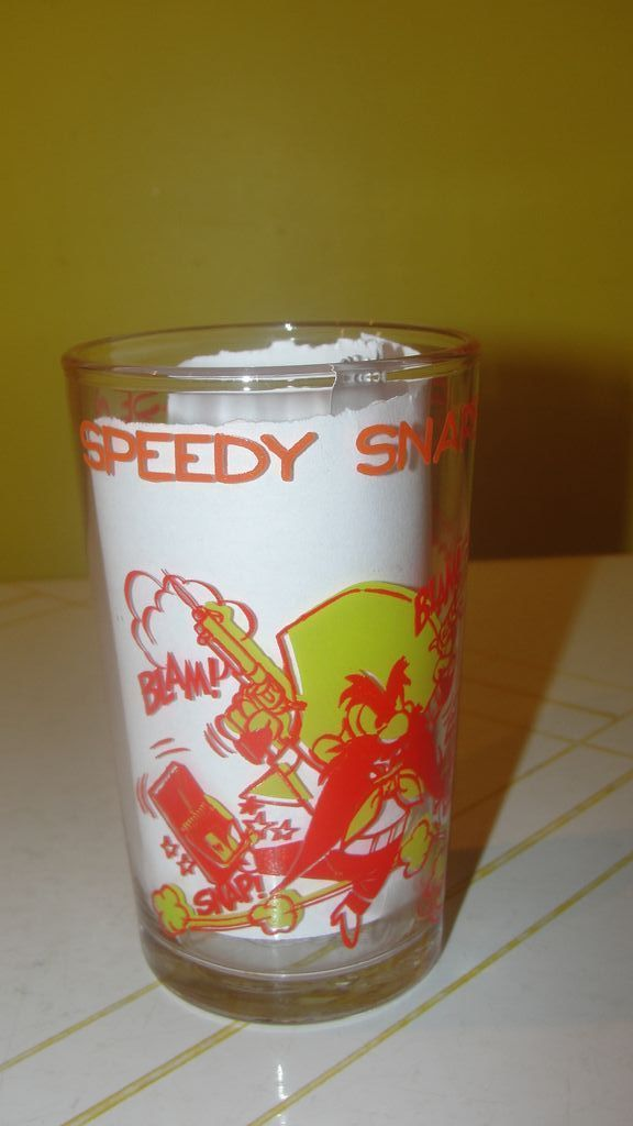 ''Speedy snaps up the cheese.'' Jelly Jar Glass
