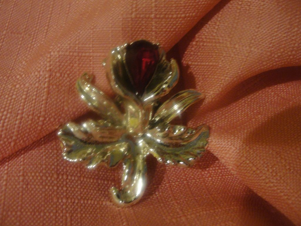 Tropical Orchid with Red Stone Pin - Free shipping