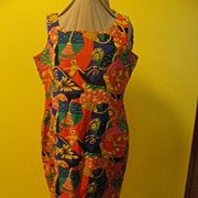 Bold , Bright Print Silk Dress/skimmer