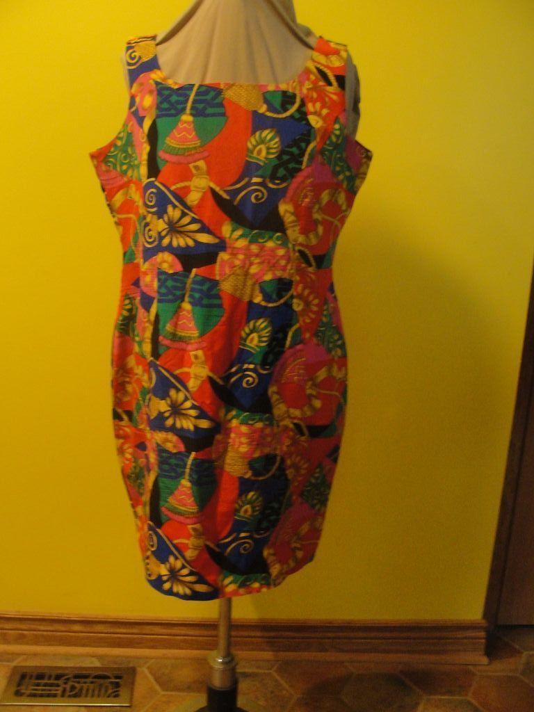 Bold , Bright Print Silk Dress/skimmer